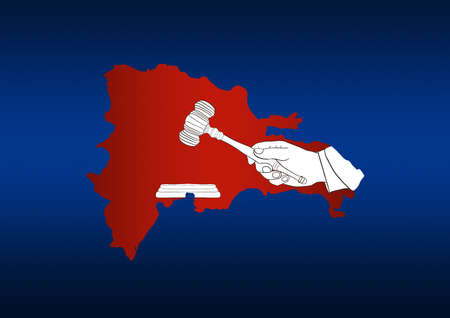 illustration of a map of Dominican Republic with hand of a judge holding a mallet Banque d'images