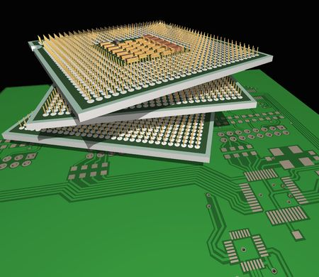 The abstract CPU fnd pcb are represented in image.