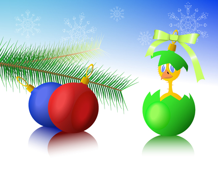 Chicken, Christmas toys and snowflakes are shown on the image. Stock Vector - 8388685