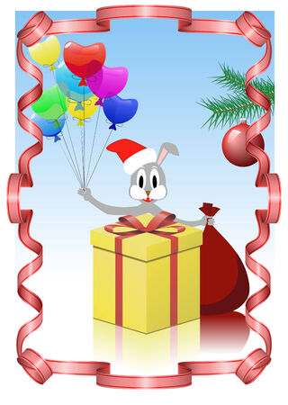 Rabbit with gifts is shown on the image. Stock Vector - 8426166