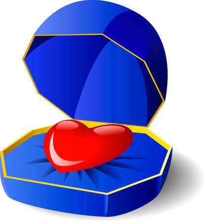 The heart of love in a gift box is shown. Vector
