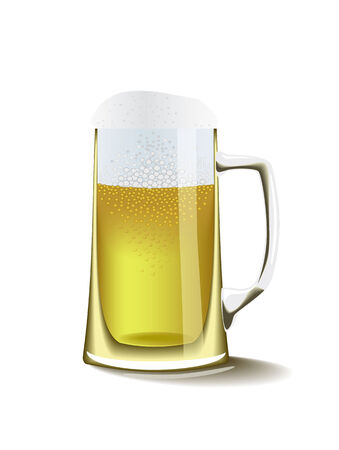 A glass of foam beer  is shown in the picture. Stock Vector - 8775253