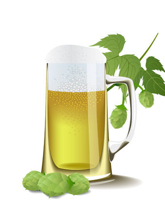 A glass of foamy beer and fruit hops are shown in the picture. Vector