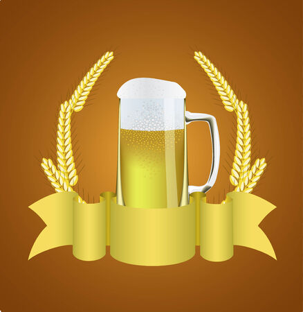 Beer and ears of wheat are shown in the picture. Stock Vector - 8775256