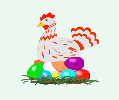 Chicken, easter eggs hatched, is shown in the picture. Vector