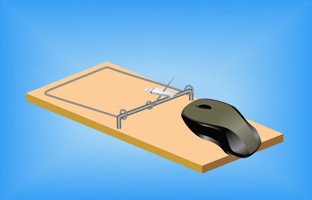 peripherals: Computer mouse and mousetrap are shown in the picture.