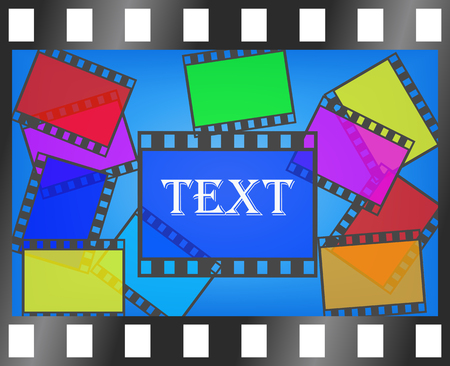 Colorful film footage is shown on the image. Vector