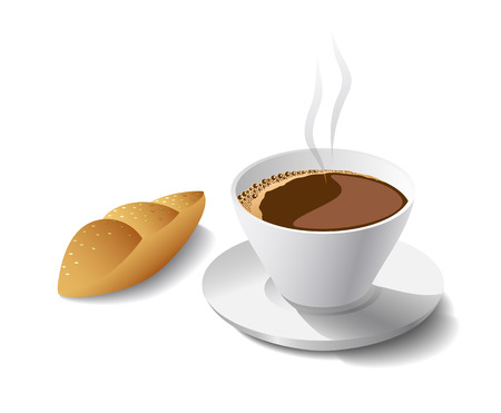 Morning cup of fragrant coffee and cakel is shown in the picture.