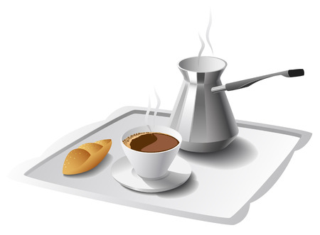 fragrant: Morning cup of fragrant coffee, pots and cake are shows in the picture. Illustration