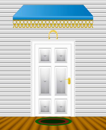 The entrance door of the house is shown in the picture. Stock Vector - 9134941