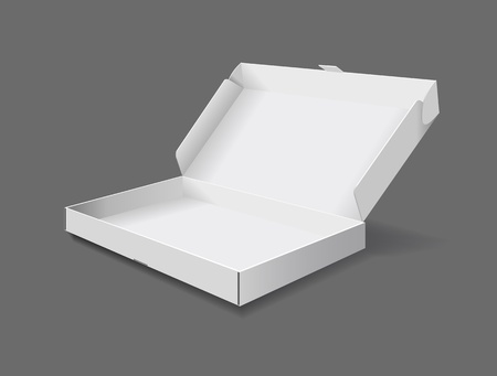 The packaging box on grey background is shown in the picture. Vectores