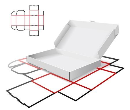 La caja de cartón y esquema de corte se muestra en la imagen. Foto de archivo - 9275068