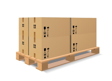 A wooden pallet with boxes are shown in the image. Vector