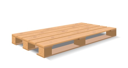 A wooden pallet is shown in the picture. Vectores