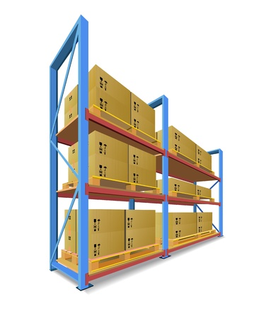 Racks, pallets and boxes in stock are shown in the picture.