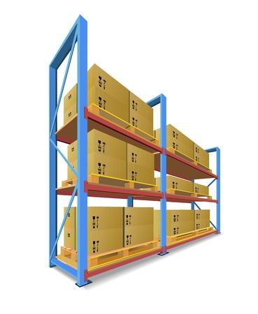 Rekken, pallets en dozen op voorraad worden getoond in de afbeelding. Vector Illustratie