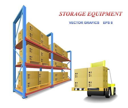 lift: Racks, trays, boxes and forklifts in the warehouse are shown in the picture. Illustration
