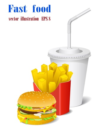 fastfood: Sandwich, potato and a cup are shown in the picture