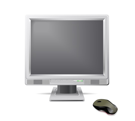Grey monitor and mouse are shown in the picture. Vector