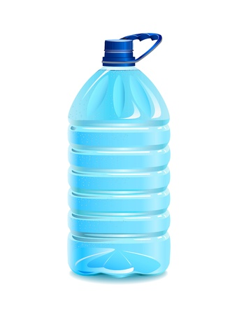 Plastic bottle with pure water is shown in the picture.