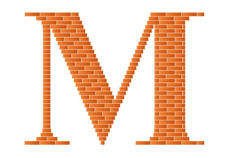 architecture alphabet: The letter M is shown in the picture. Illustration