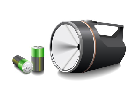 Flashlight with batteries is shown in the picture. Illustration