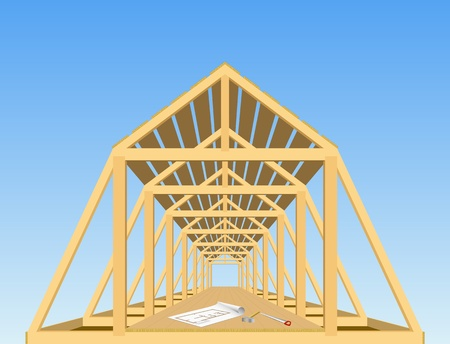 Building roof of the house is shown in the image. Stock Vector - 9655794