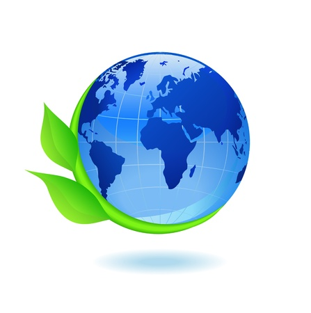Globe and plant are shown in the picture. Stock Vector - 9804431