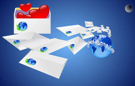 Envelope with a letter delivered to the recipients in the world. Vector