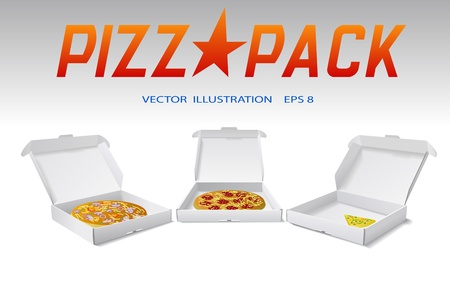 Packaging boxes of pizza are shown on the image. Stock Vector - 9932021
