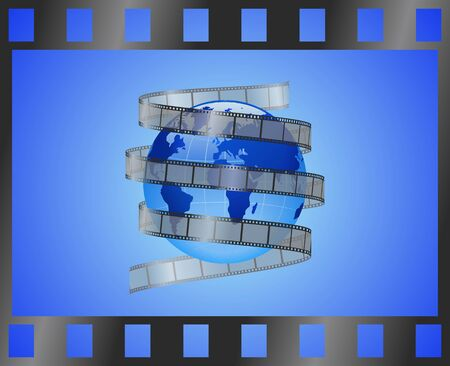 Earth on the background of a film is shown in the picture.