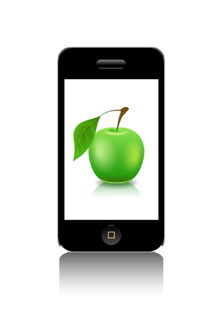 phone button: Mobile phone and ripe apple green are shown in the picture. Illustration