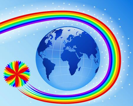 Rainbow around the Earth is shown in the picture. Stock Vector - 10065843