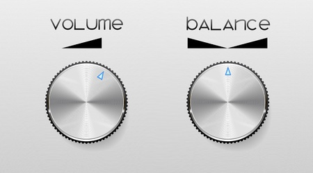 Controls for volume and sound balance are shown in the picture. Vector