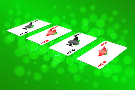 Playing cards on an abstract background are shown in the image. Illustration