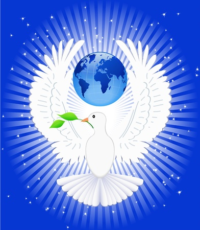The dove and globe are shown in the image. Stock Vector - 10992796