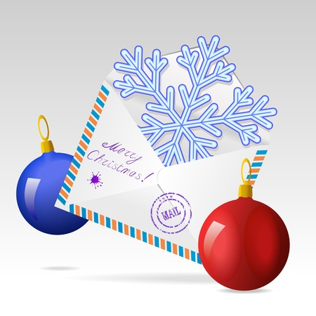 Mailing envelope, snowflake and Christmas tree balls are shown in the image. Stock Vector - 10992798