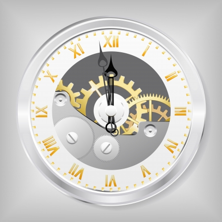 Clock-skeleton with golden figures is shown in the image. Vector