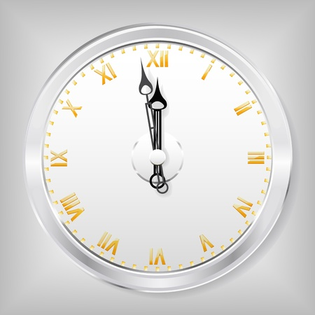 The clock with gold numbers is shown in the image. Vector