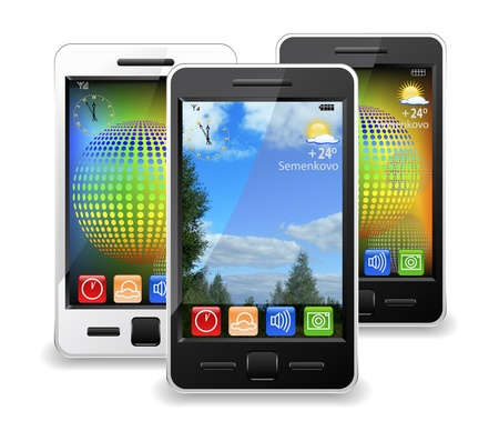 Modern mobile phones are shown in the image. photo