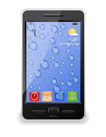 Modern mobile phone is shown in the image. Illustration