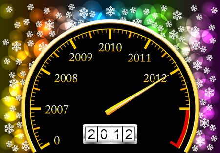 Speedometer with coming new year is shown in the picture. Illustration