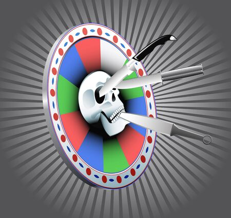 Target with a skull and throwing knives are shown in the image. Stock Vector - 11188614