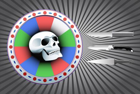 Target with a skull and throwing knives are shown in the image. Vector