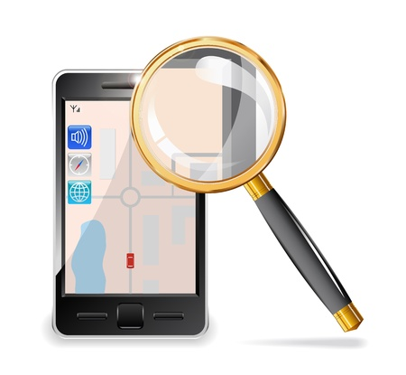 Mobile phone and a magnifying glass set in gold are shown in the image. Illustration