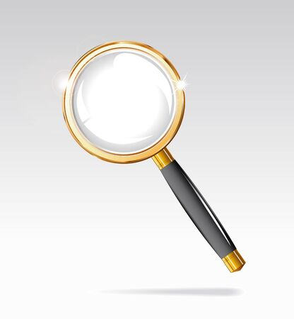 diopter: Magnifying glass in a gold frame is shown in the image