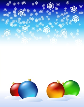 New Year's decorations in the snow are shown in the image. Illustration