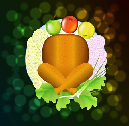 range fruit: Turkey for Thanksgiving is shown in the image. Illustration
