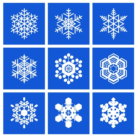 Snowflakes of different shapes are shown in the image.