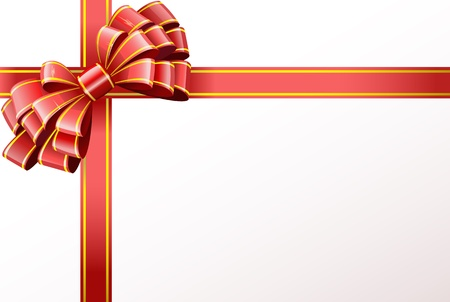 Bow made of shiny red ribbon is shown in the image. Illustration